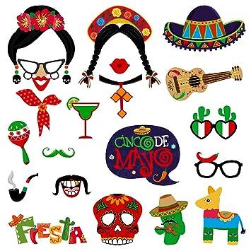 Amosfun Fiesta Party Photo Booth Props Tienda de artículos para Fiesta de Fiesta Mexicana Fiesta de Cumpleaños para Fiesta de Cumpleaños Fiesta Hawaii ...