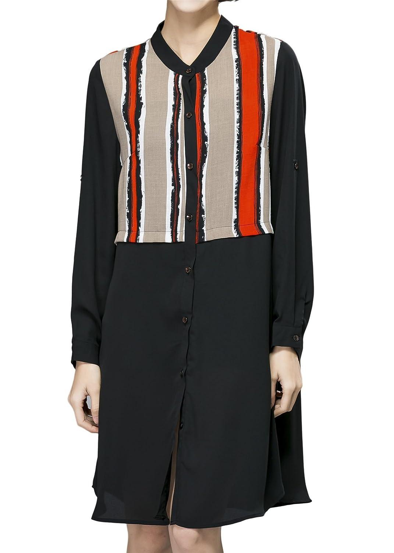 Luna et Margarita ¨¹bergr??es Schwarz Hemdkleid aus Chiffon mit Langarm und Orange Druck knielang
