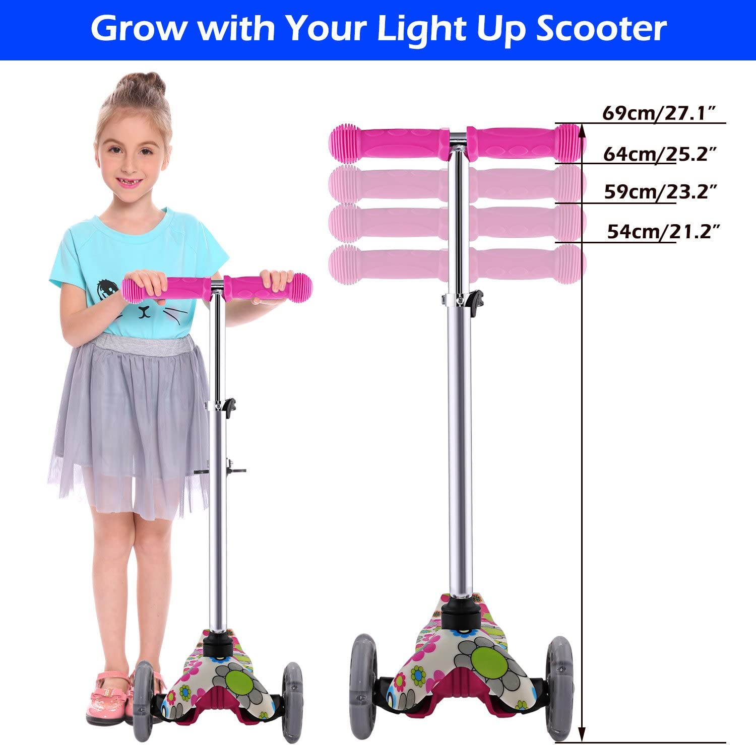 Kick Scooter with 3 Wheel Scooter for Toddlers Girls /& Boys 3 Adjustable Height WeSkate Scooter for Kids Safe Lean to Steer with PU Flashing Wheels for Children from 3 to 12 Years Old