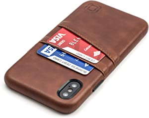 """Dockem Wallet Case for iPhone X/XS: Built-in Metal Plate for Magnetic Mounting & 2 Credit Card Holders, 5.8"""" Exec M2 Synthetic Leather (Brown)"""