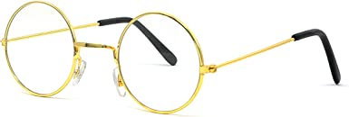 Gold Rimmed Round Costume Glasses - 1 Pair