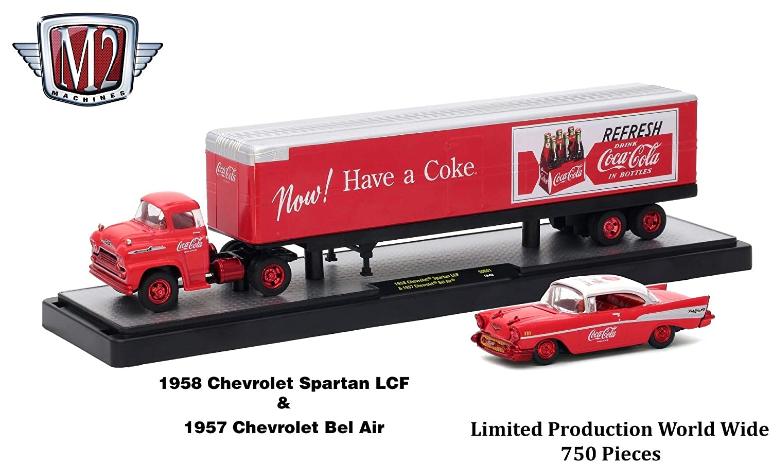 M2 Machines Limited Edition Chase Vehicle Set 1958 Chevrolet Spartan LCF /& 1957 Chevrolet Bel Air Auto-Haulers 2018 Coca-Cola Release 1 Castline 1:64 Scale Die-Cast Vehicle Set 1 of only 750