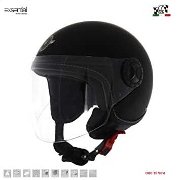 Amazon.es: Exsential - EX 730 VL - Casco Demi-Jet, color negro mate para scooter y moto, talla XL