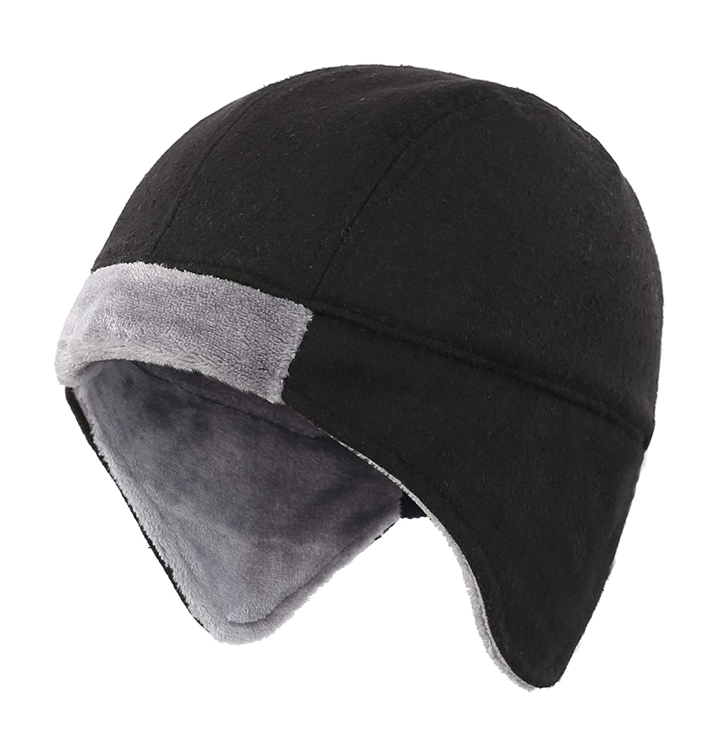 9e33c86fcfecc Connectyle Mens Fleece Lined Skull Cap Warm Winter Beanie with Ear Covers  Running Cycling Sports Hat Black at Amazon Men s Clothing store