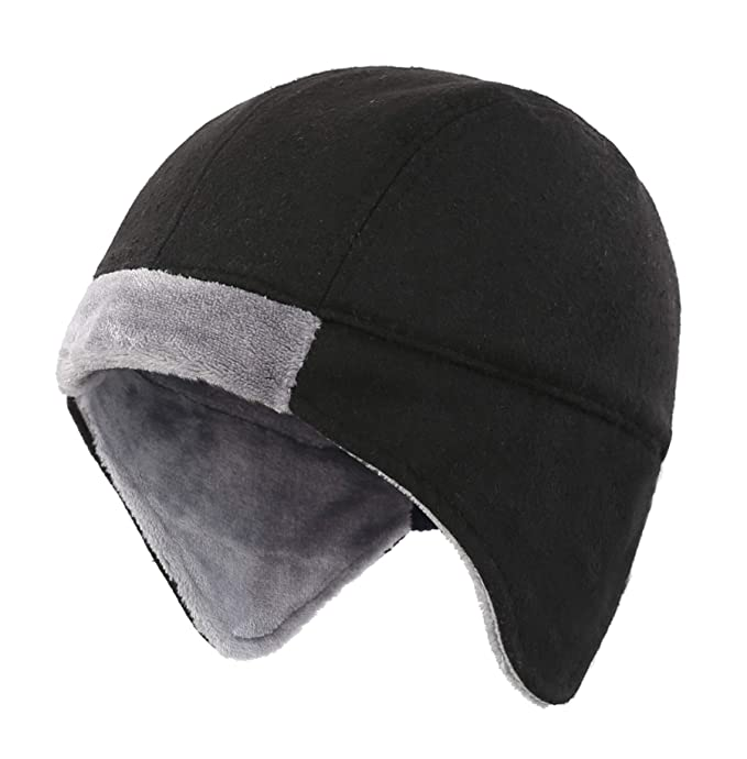 a9ea0818080de Connectyle Mens Fleece Lined Skull Cap Warm Winter Beanie with Ear Covers Running  Cycling Sports Hat
