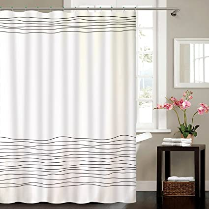 BUZIO Line Pattern Shower Curtain 12 Hooks Bathroom Mildew Resistant Anti Bacterial