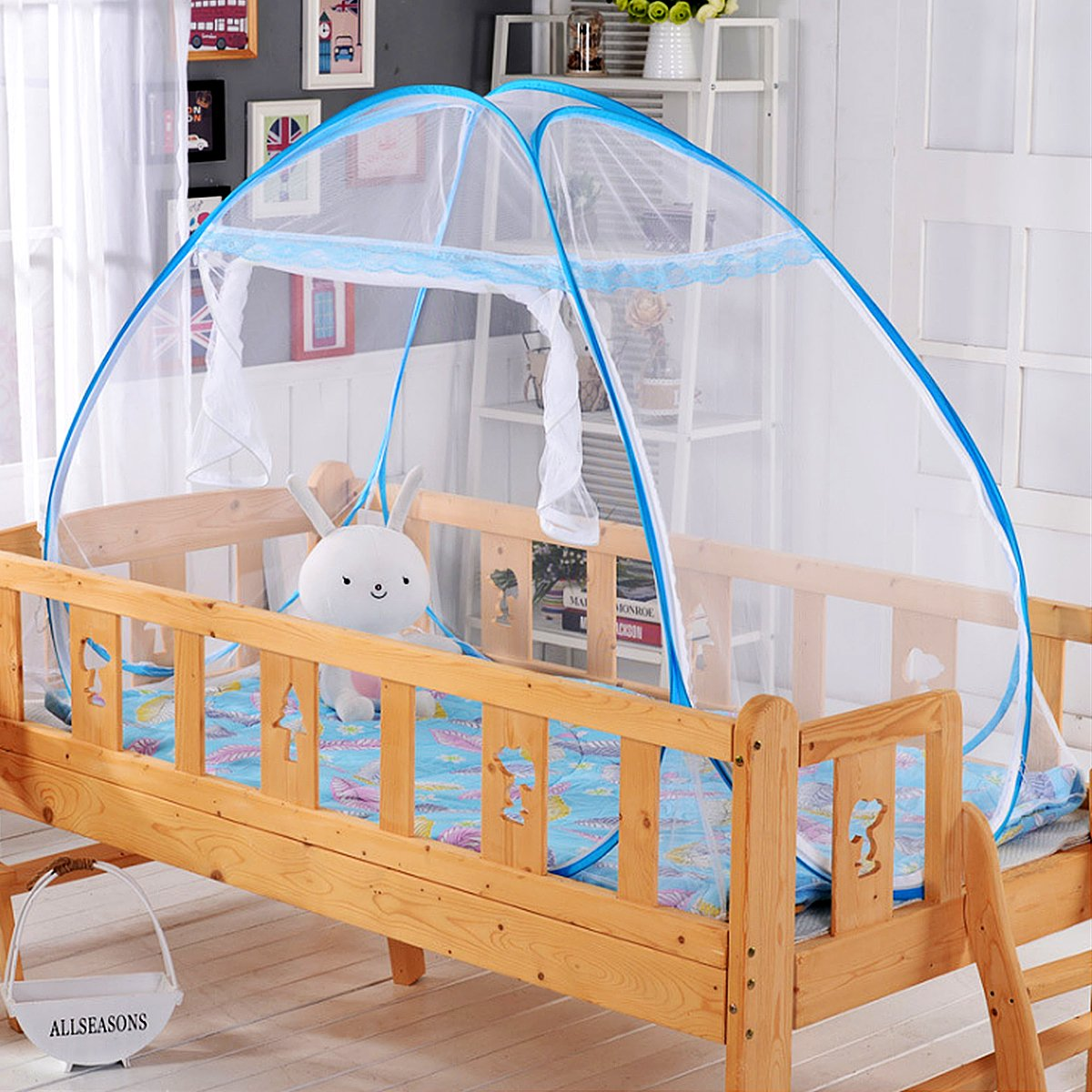 DATONG Pop-Up Mosquito Net Tent for Beds Anti Mosquito Bites Folding Design with net Bottom for Babys Student Trip (66.14x34.64x35.4 inches)