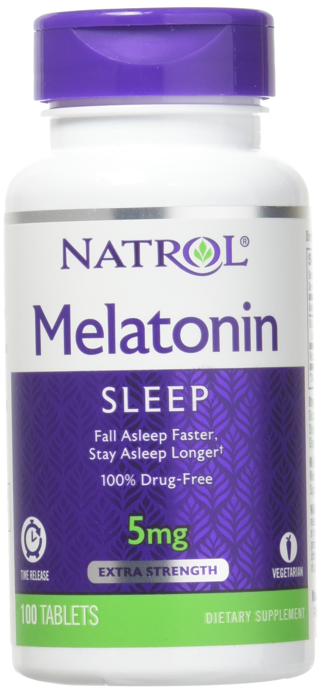 Melatonin 5 mg Time Release by Natrol 100 Tablets