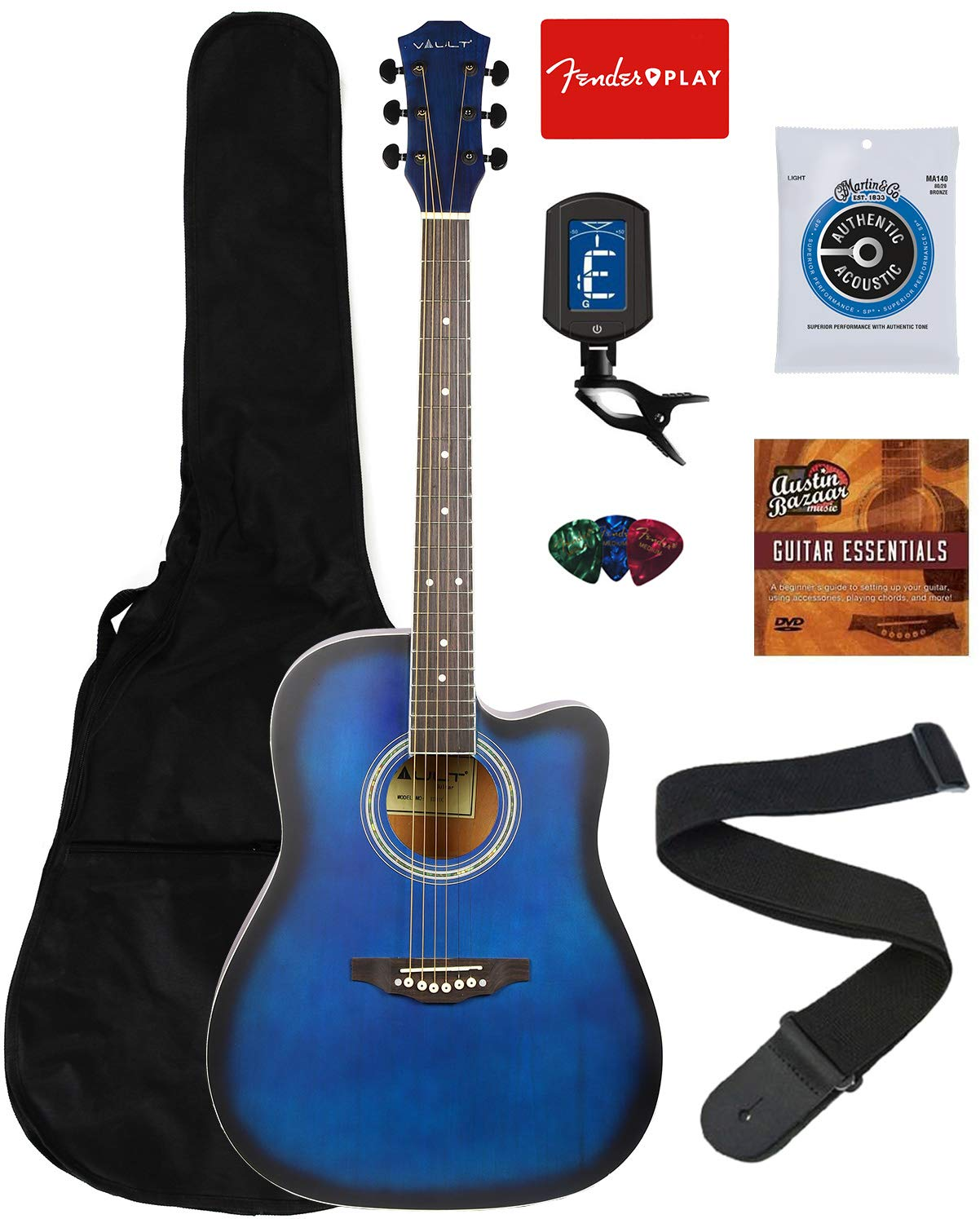 Vault 41-Inch Dreadnought Cut Away Acoustic Guitar - Blue Bundle with Gig Bag, Tuner, String, Picks, Strap, and Instructional DVD by VAULT