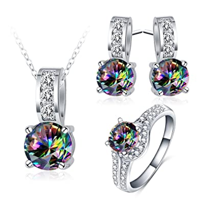 Sporting Shining Cubic Zircon Multicolor Necklace Heavy Wedding Jewelry Set For Women Modern Techniques Bridal & Wedding Party Jewelry
