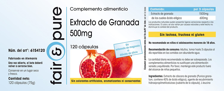 Granada en cápsulas - Extracto de Granada 500 mg - 40% de Ácido Elágico - Vegano - 120 Cápsulas