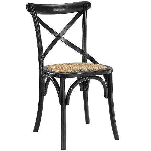 Modway MO-EEI-1541-BLK Gear Rustic Modern Farmhouse Elm Wood Rattan, Dining Chair, Black