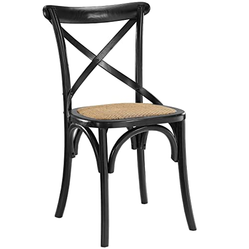 Modway Gear Modern Farmhouse Cross Back Solid Elm Wood Dining Side Chair With Rattan Seat In Black