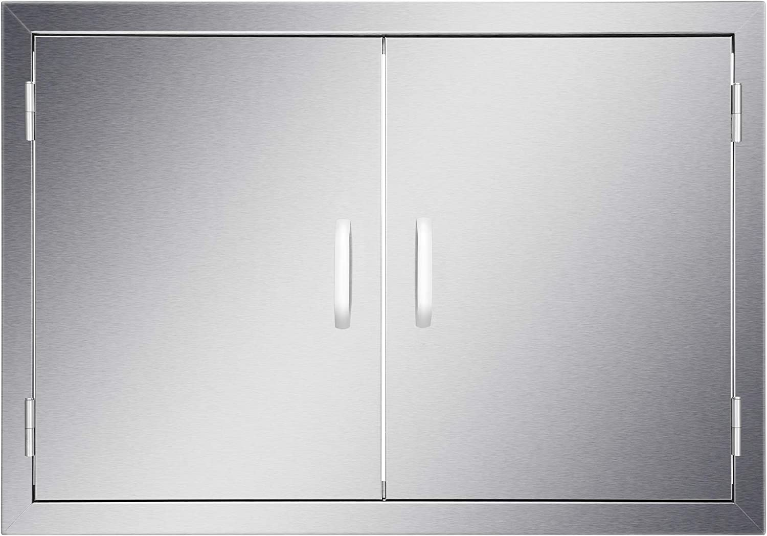 """CO-Z Outdoor Kitchen Doors, Weatherproof 304 Stainless Steel Built In Double Access Doors for Outside Kitchen Commercial BBQ Grill Grilling Island Station Barbeque Storage Cabinet (30.5""""W x 21""""H)"""