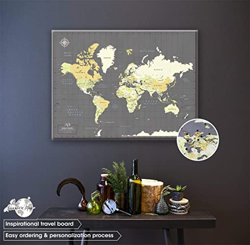 Amazon.com: Canvas Push Pin Travel Map - Personalized World map with ...