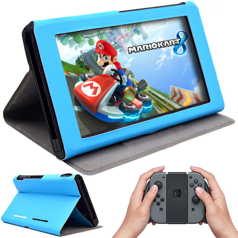 Funda protectora (2017) con funcion soporte,Nintendo Switch Case, color azul