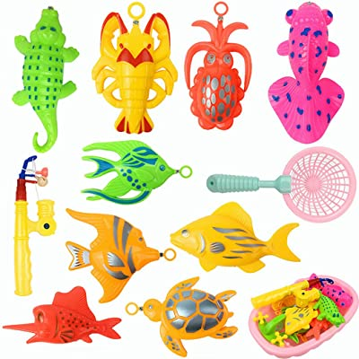 13PCS Kids Bath Toy Set Creative Plastic Magnetic Fishing Toy Set Bathtub Toy: Kitchen & Dining