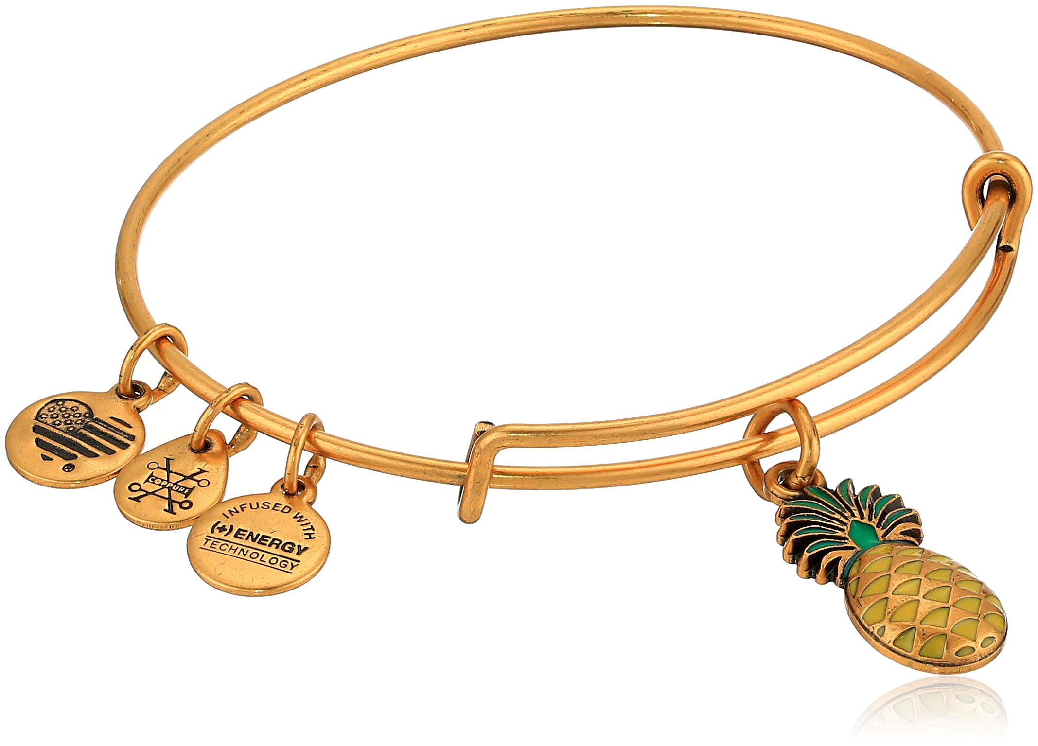 Alex and Ani Women's Color Infusion, Pineapple Bangle Bracelet, Rafaelian Gold, Expandable