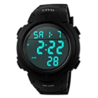 Men's Sport Watch by CIVO Multifunctional Military Waterproof Simple Design Big Numbers Digital LCD Screen Casual Watch with Microfiber Bonus