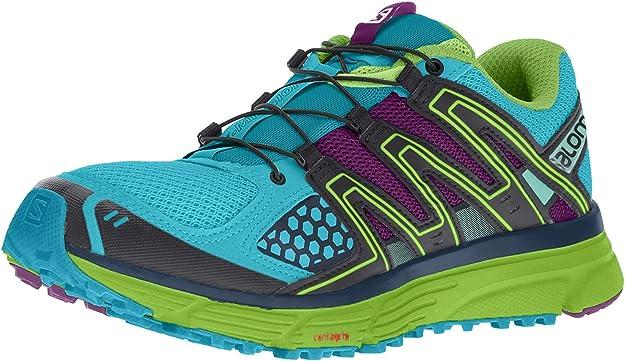 Salomon Women's X-Mission 3 Trail Running Shoes, Teal Blue/Granny Green/Passion Purple, 5.5 B US