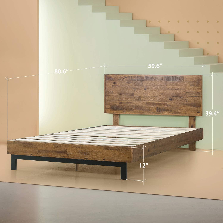 Zinus Tricia Platform Bed Mattress Foundation Box Spring Replacement Brown, Queen Renewed