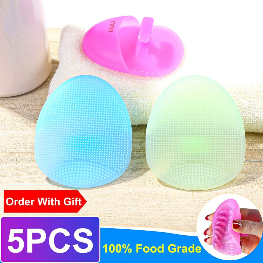UIUIUS Face Brush-Facial Brush-Super Soft Silicone Face Cleanser and Massager Brush-Manual Facial Cleansing Brush Face- Scrubbers Exfoliator Brush-For Sensitive, Delicate, Dry Skin-5 Pack: Beauty
