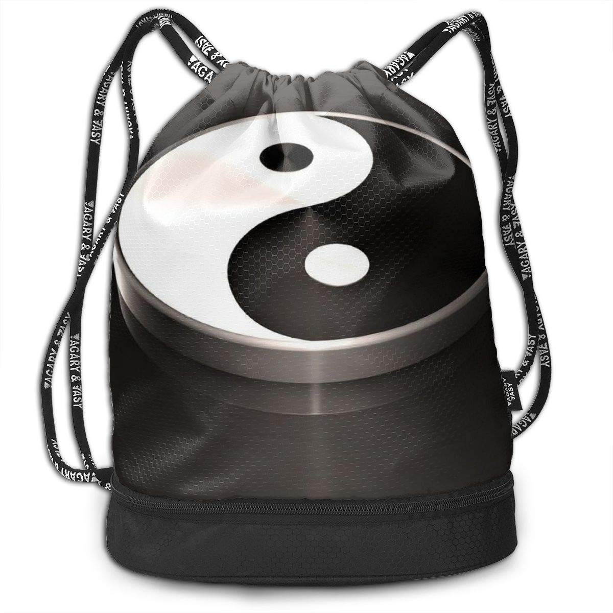 Yin Yang Printed Sackpack Kji Gym Sack Drawstring Bag Women Sport Cinch Pack Backpack for Men