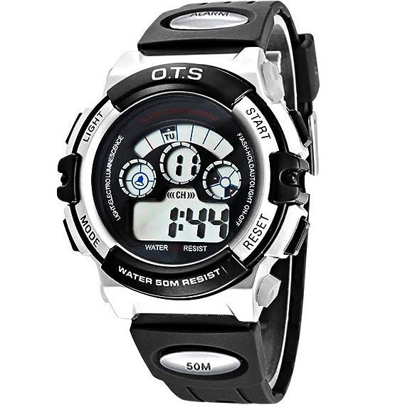 Mens Boys impermeable Analog Digital Sport Alarma de reloj de muñeca banda de goma Relojes (