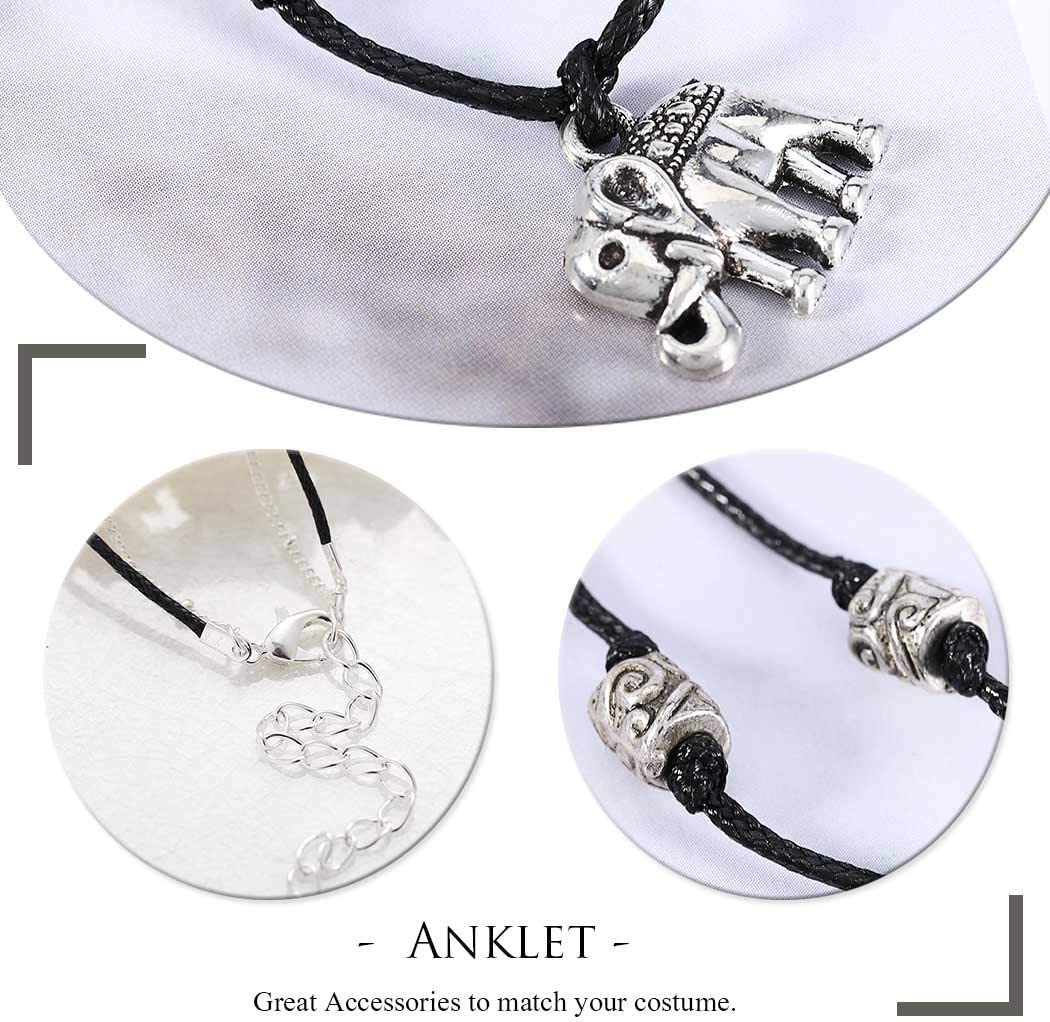 Edary Boho Double Woven Anklets Silver Elephant Ankle Bracelet Chain Beach Foot Jewelry for Women and Girls