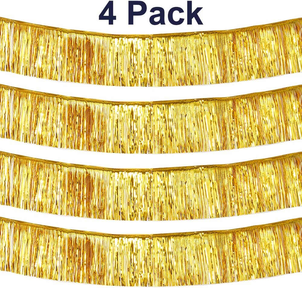 pozzolanas 10 Feet Fringe Garland Metallic Tinsel Banner Shiny Float Decorations for Weddings, Parade Float, Birthday, Holiday Party Decorations Wall Hanging Fringe Banner(4 Pack, Gold)