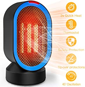 toyuugo Ceramic Space Heater (ETL Listed), Small Electric PTC Heater Portable Desk Fan Heater with Auto Shut Off, Auto-Oscillating, 2s Heat-up, Tip-Over and Overheat Protection for Home, Office, 600W