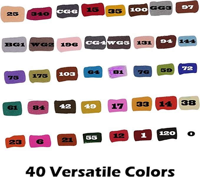 40 Colores Rotuladores de Doble Aplicador con Estuche Port/átil de Pl/ástico Artify Art/ístico Juego de Marcadores de Arte a Base de Alcohol