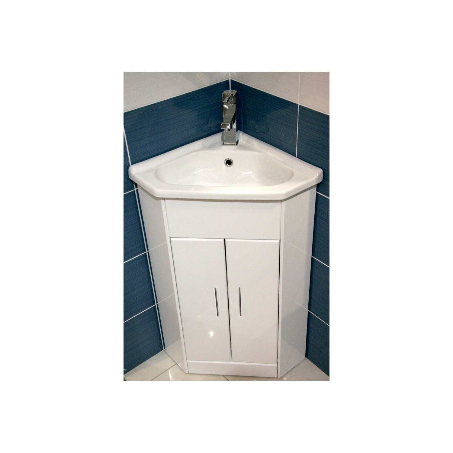 White Compact Corner Vanity Unit Bathroom Furniture Sink Cabinet Ceramic  570 X 400 + Tap: Amazon.co.uk: Kitchen U0026 Home