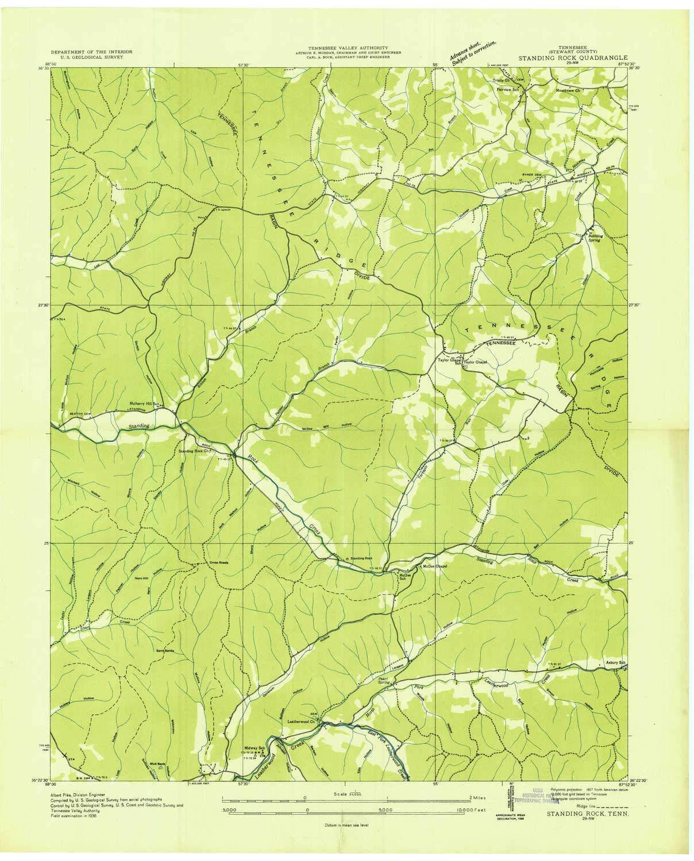 Amazon.com : YellowMaps Standing Rock TN topo map, 1:24000 ...