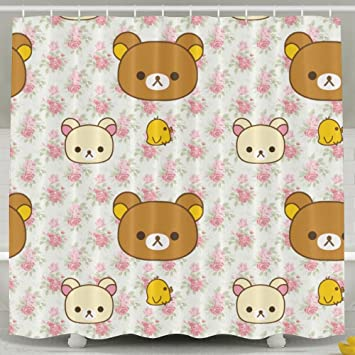 POOPEDD Rilakkuma Shower Curtain Fully Patterned Design Waterproof And Bacteria Proof 6072