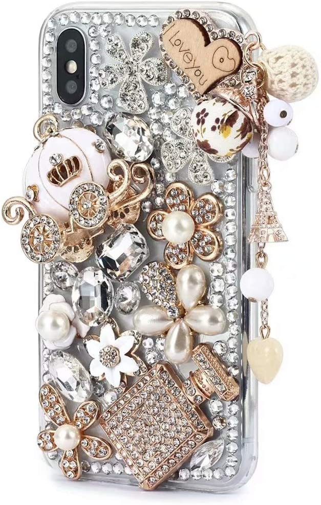 iPhone Xs Max Shiny Rhinestone Case,iPhone Xs Max Bling Diamond Case,FreeAir 3D Handmade Crystal Bling Diamonds Shiny Rhinestone Pumpkin Car Soft Case for iPhone Xs Max (6.5 inch)