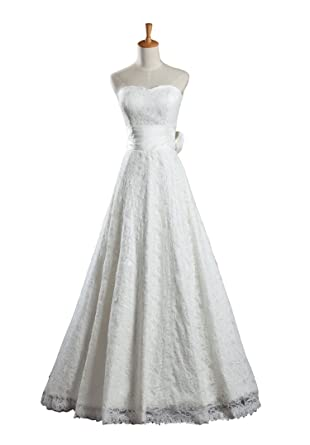 Azaleas Women\'s Lace Vintage Tea Length Flower Wedding Dresses at ...