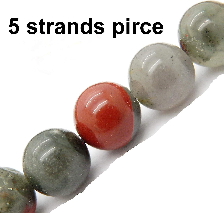 Gemstone Beads for Jewelry Making Sold per Bag 5 Strands Inside African Blood Jasper 4mm
