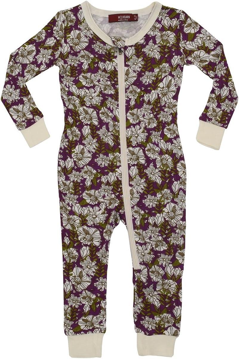 MilkBarn Bamboo Zip Pajamas - Purple Floral