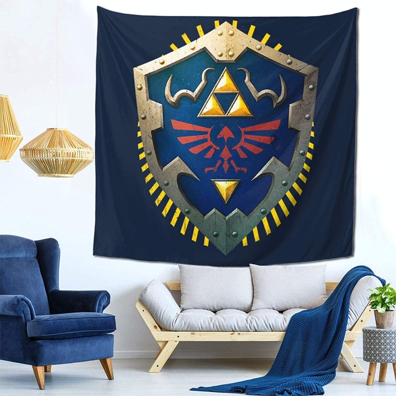1033 Hylian Shield Legend of Zelda Triforce Wall Hanging Tapestry for Living Room and Bedroom Spreads Good Vibes 59×59 Inches
