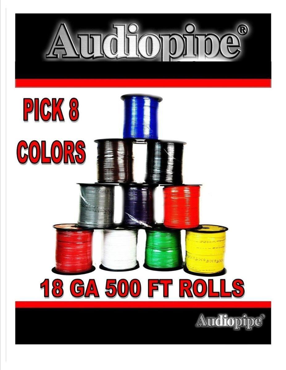 18 GA 500 Feet Audiopipe Primary Power Wire Remote Car Audio Home (8 Rolls)