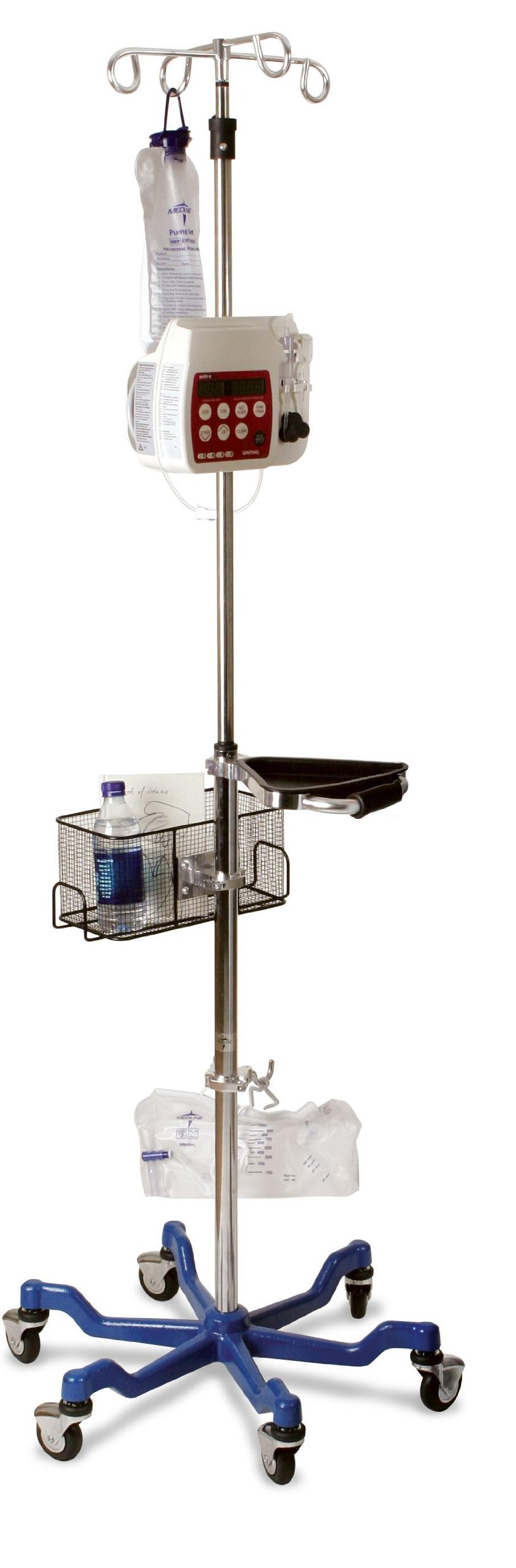 Medline MDS80600 Six Leg Heavy Duty IV Pole, Stainless Steel, Latex Free, 73'' to 99.5'' Adjustable Height (Pack of 2)