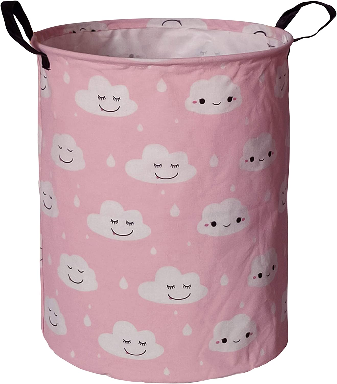 HUAYEE 19.6 Inches Large Laundry Basket Waterproof Round Cotton Linen Collapsible Storage bin with Handles for Hamper Kids Room,Toy Storage(Pink Clouds)
