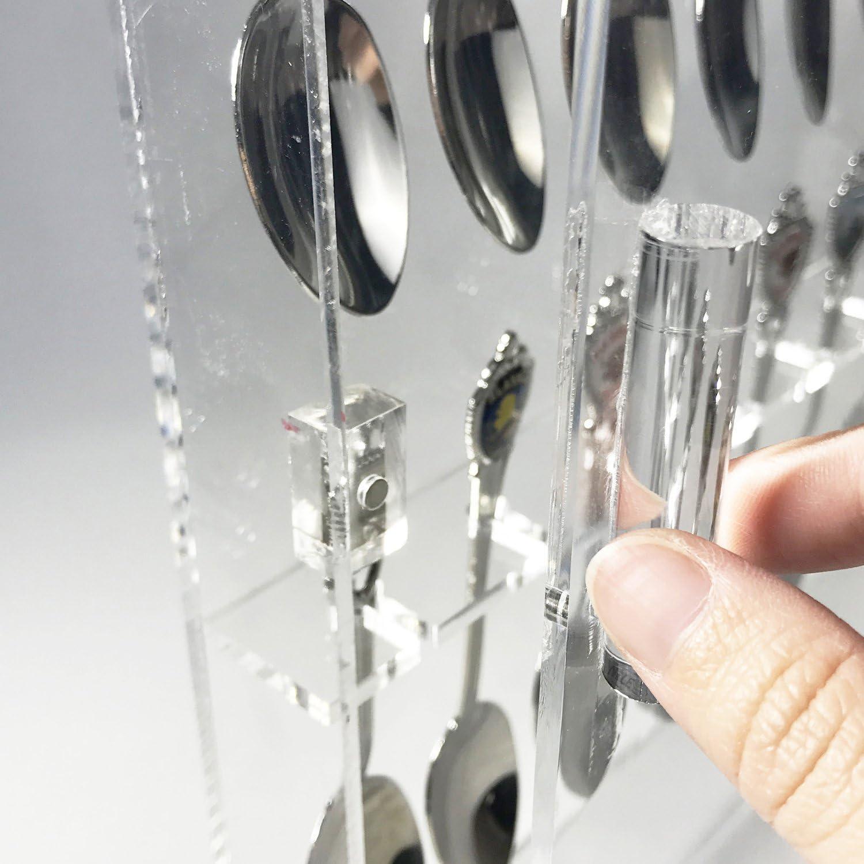 Ikee Design Premium Acrylic Souvenir Spoon Display Case Wall Mountable Organizer Storage Holder