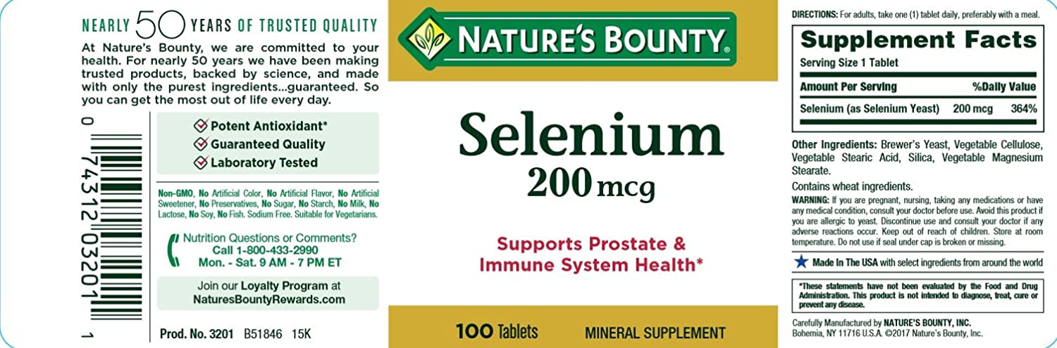 Natures Bounty Selenium 200 mcg, 100 Tablets (Pack of 3)
