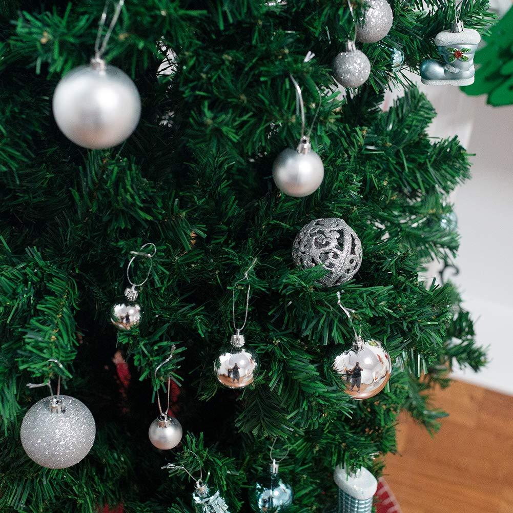 HAKACC Weihnachtskugeln, 100 Stück Weihnachtsbaumkugeln Silber Christbaumschmuck Anhänger für Tannenbaum Glitze Ball Weihnachtsdeko