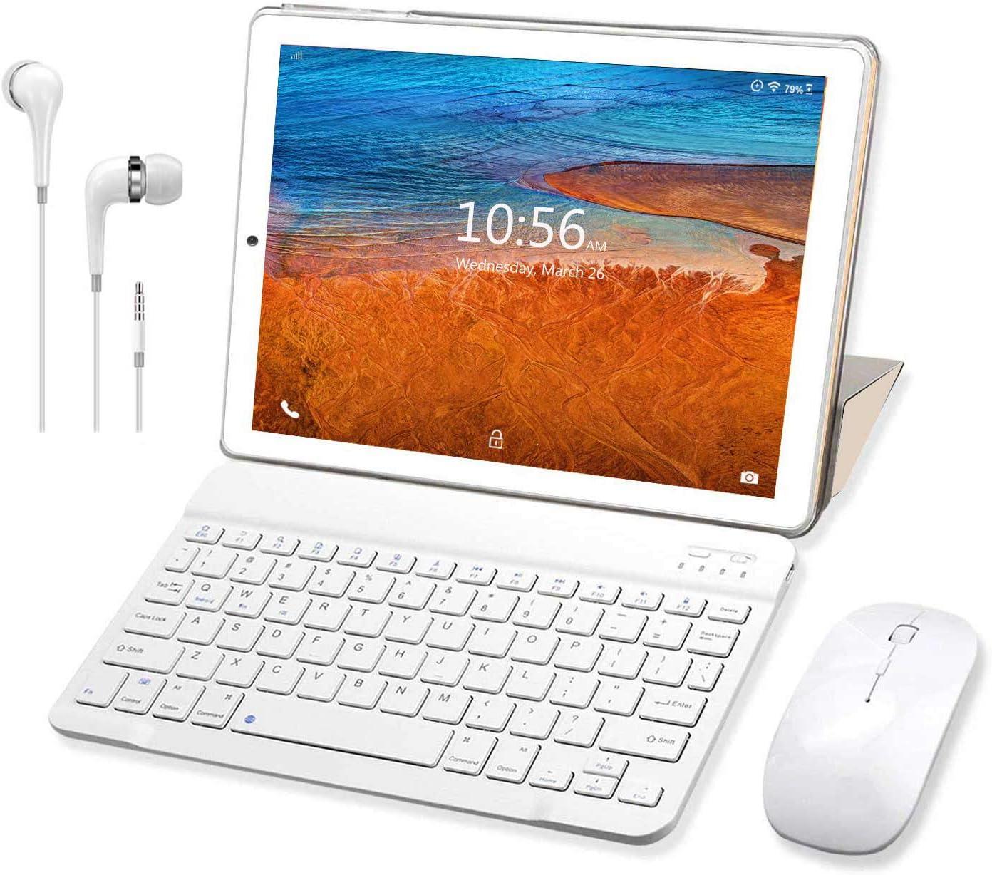 Tablet 10 Pulgadas Buenas 4G RAM 3GB 32GB ROM Android 9.0 Pie Tableta con Teclado y Mouse Quad-Core Dual SIM WiFi Buenas Tabletas de función de Llamada 4G GPS 8500mAh