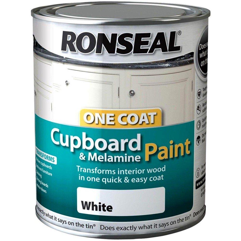 ronseal one coat cupboard melamine mdf paint black gloss 750ml