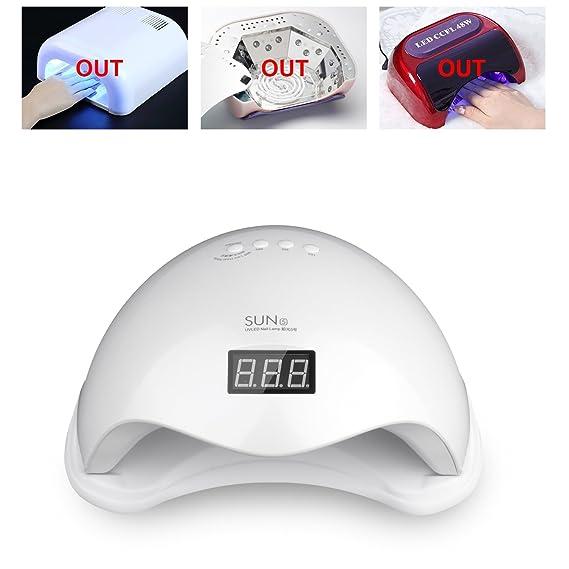 vinteky® Blanco nagellacktrockner 48 W profesional Sensor de infrarrojos lámpara UV de uñas dispositivo con temporizador (10s, 30s, 60s, 99s): Amazon.es: ...