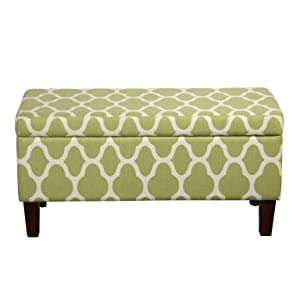 HomePop Large Upholstered Rectangular Storage Ottoman Bench with Hinged Lid, Green Geometric